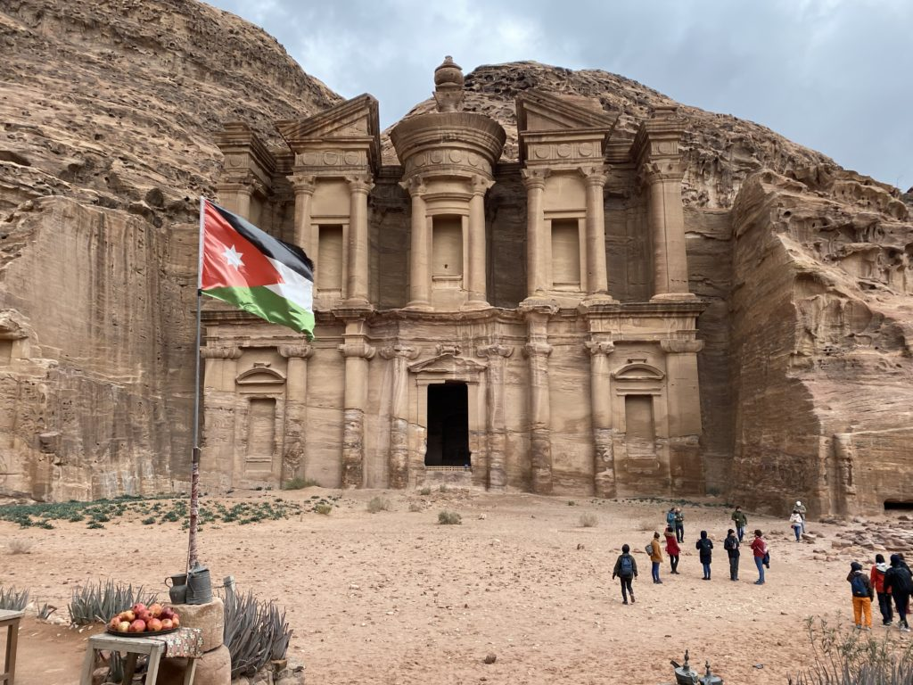 the super & sentionnal jordan's flag in front of the monastery. petra