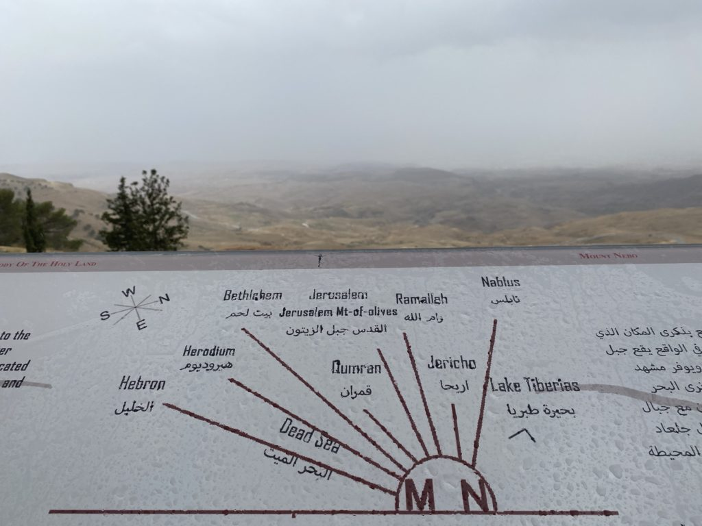 the vue on Mount Nebo and map of all the cities that it's surrounded