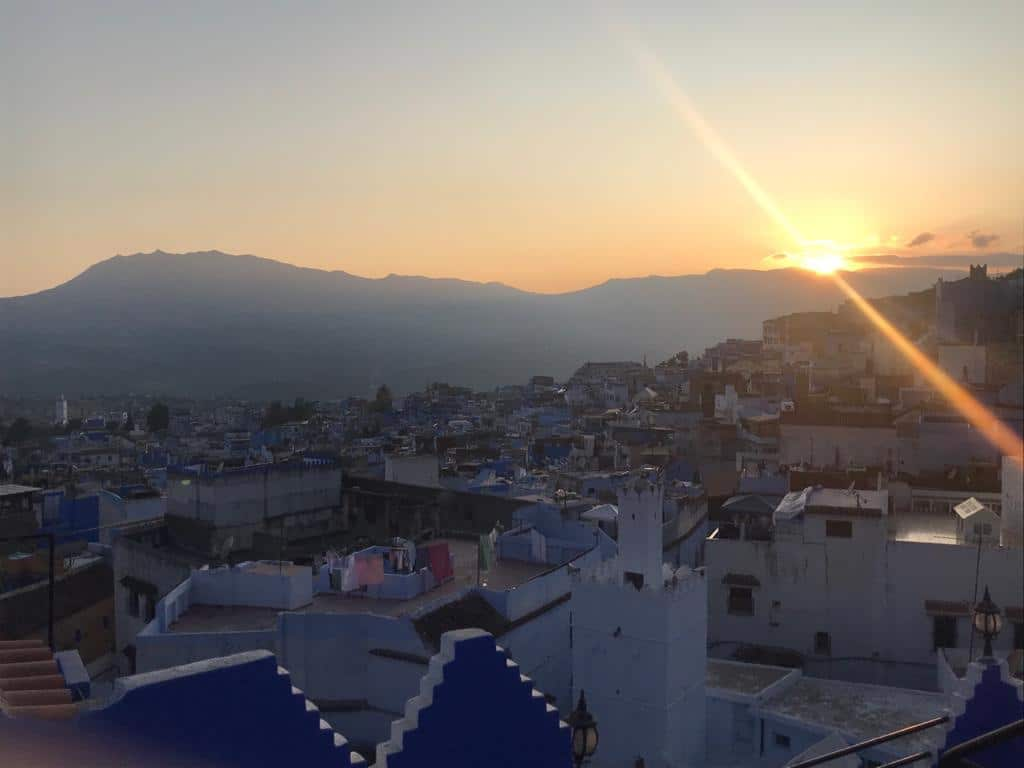 Sunset from the rooftop of the Riad Antek. Exploring Chefchaouen the Morocco's blue pearl