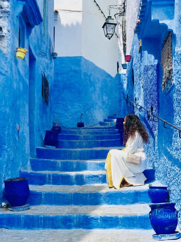 The winding blue and white streets while travel through Chefchaouen  the Blue pearl of Morocco