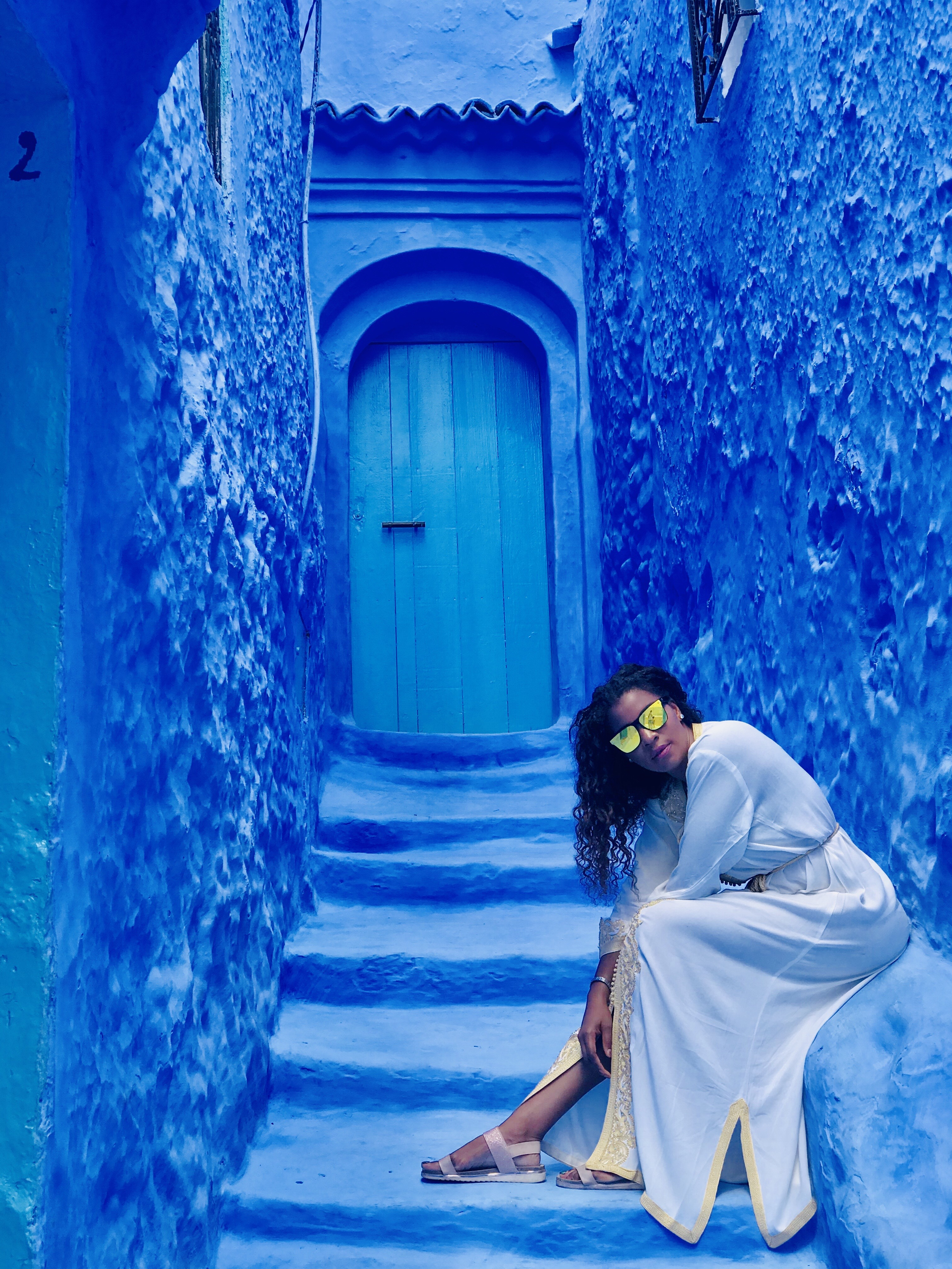 One of the many blue entrances to the local houses while we were exploring Chefchaouen; Morocco's blue pearl